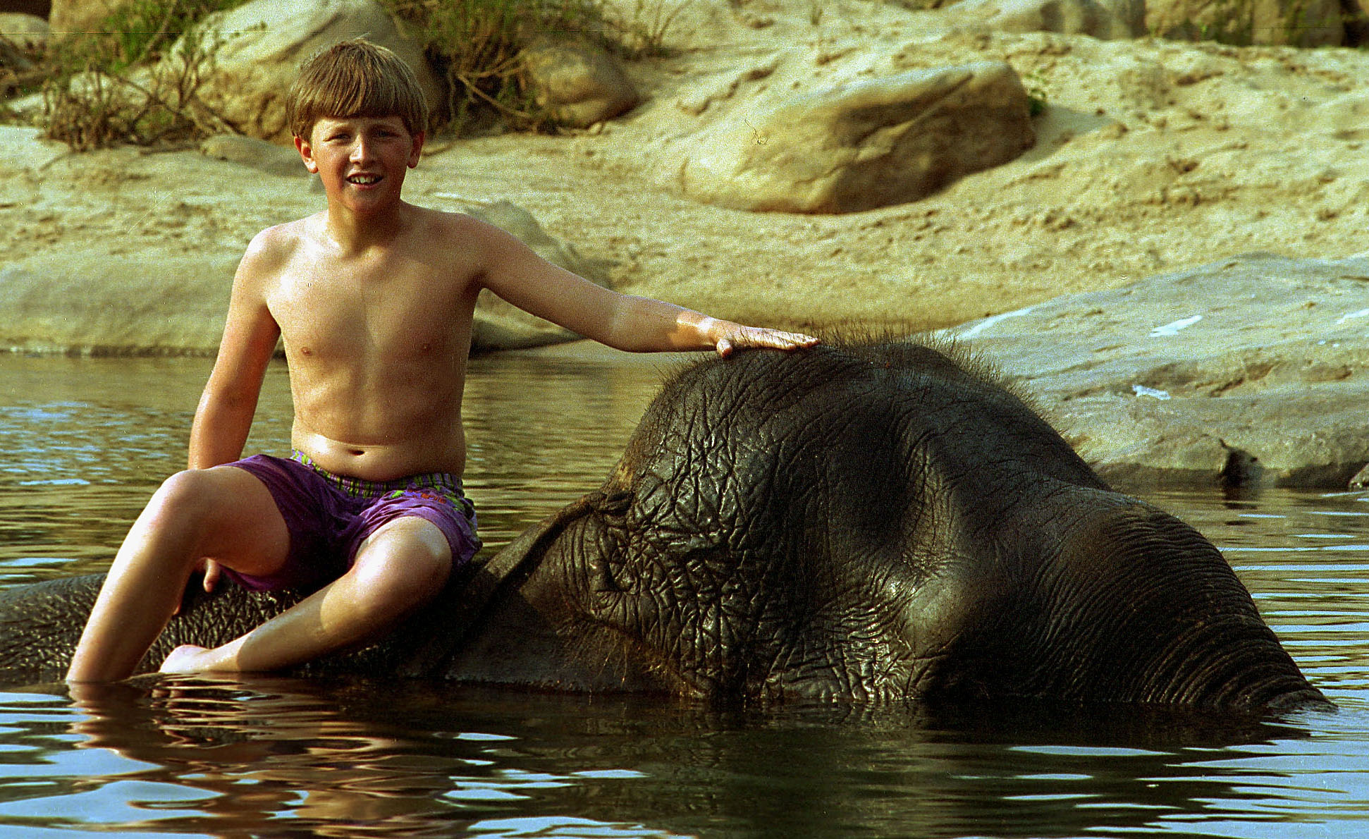 Geoff Whittle - India Jamie bathing elephant, Kanha N.P. 1997