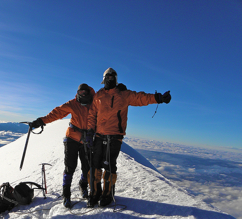 Conquering Mount Illimani, Bolivia and a proposal on the summit